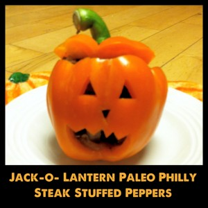 Cutest Halloween Dinner – Jack-o-lantern Philly Steak Stuffed Peppers