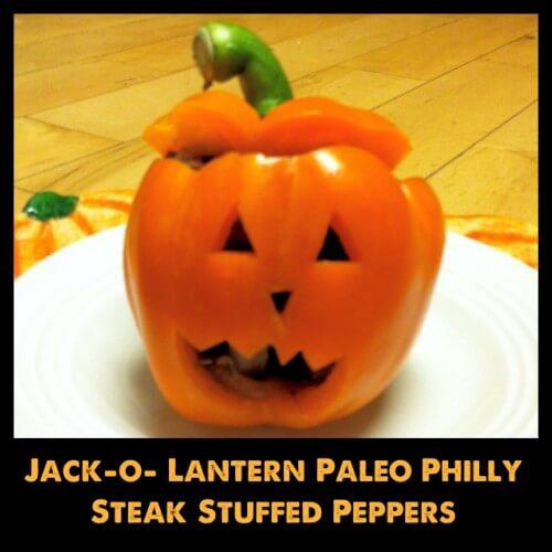 Cutest Halloween Dinner - Jack-o-lantern Philly Steak Stuffed Peppers