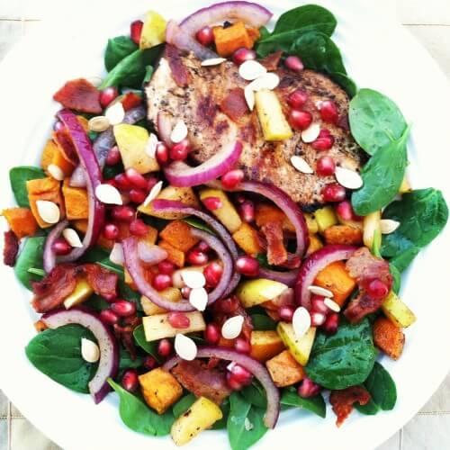Autumn Grilled Chicken Spinach Salad with Warm Bacon Vinaigrette