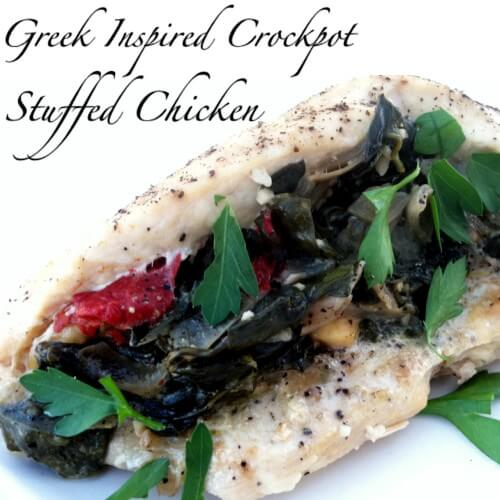 Greek Inspired Stuffed Chicken Breasts in the Crockpot
