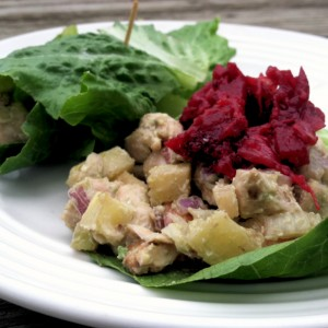 Thanksgiving Leftovers: Turkey, Apple, Avocado and Walnut Lettuce Wraps with Fresh Cranberry Sauce