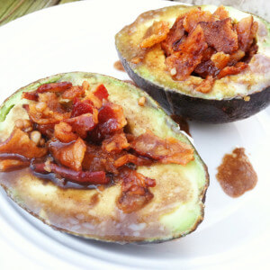 Bacon Avocado Cups with Balsamic Glaze