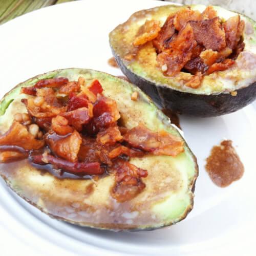 Bacon Avocado Cups with Balsamic Glaze