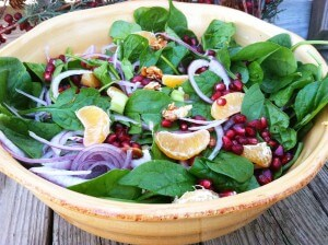 Holiday Clementine Spinach Salad with Candied Almonds