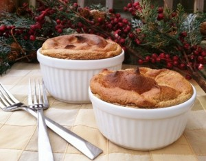 Gingerbread Breakfast Souffle with Cinnamon Spiced Bananas
