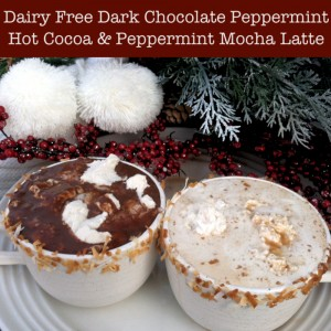 Dairy Free Dark Chocolate Peppermint Hot Cocoa and Peppermint Mocha Latte