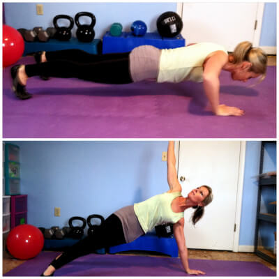 T-PUSHUPSGet into a pushup position. You should form a straight slight from you heels to your head. Do a pushup. As you come back up, rotate the right side of your body upward as you bring your right arm straight up towards the sky. Lower back down and repeat on the other side.