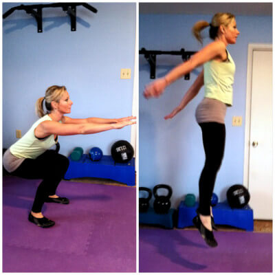 JUMP SQUATSGet into a squat position. Your thighs should be parallel to the floor, your chest upright and your weight should be in your heels. Keep your arms out in front of you. Explosively jump while pushing your arms down. *Easier version: Take out the jumping part and just do squats.
