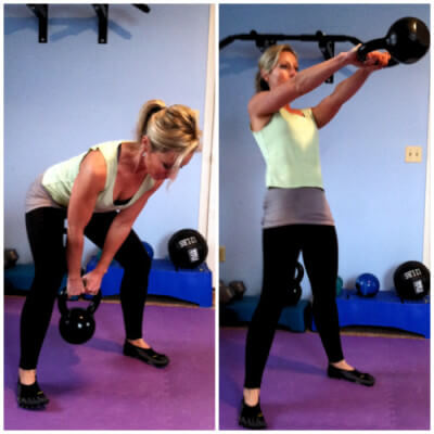 KETTLEBELL SWINGSBend at your hips and knees and swing a kettlebell or dumbbell in between your legs. Keeping your arms straight, thrust your hips forwards, straighten your knees, and swing the weight up to chest level as you rise to stand. Now squat back down as you swing the dumbbell between your legs again.
