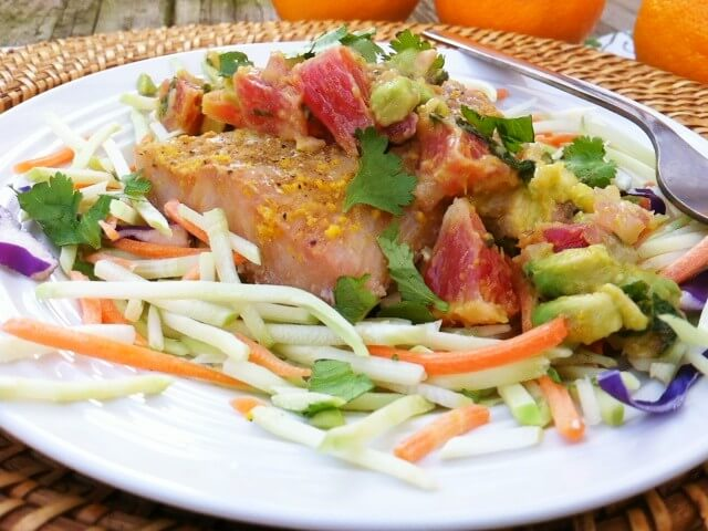 Blood Orange Salsa and Tilapia over Broccoli Slaw