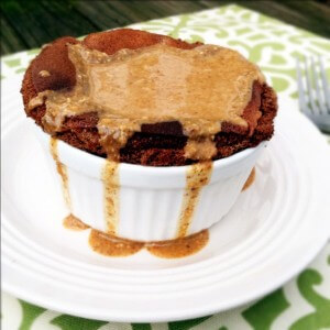 Dark Chocolate Breakfast Souffle with Vanilla Almond Butter Drizzle