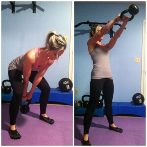 KETTLEBELL SWINGS Holding the kettlebell with both hands by the handle, push your hips back and swing the kettlebell in between your legs. Keeping your arms straight, thrust your hips forward, straighten your knees and swing the kettlebell up to chest level as you rise to standing position. Now squat back down as you swing the dumbell between your legs again. Swing the weight back and forth forecefully. Your feet should be wider than shoulder width apart.