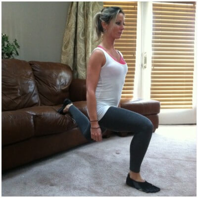 ELEVATED BACK FOOT SPLIT LUNGEStand facing away from the sofa. Place one foot on the sofa and the other foot in front of you. Brace your core and slowly lower your body as far as you can. Keep your torso upright as possible. Pause, then push yourself back up to starting position. Repeat with the other leg.