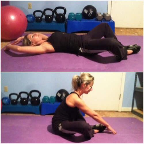 BUTTERFLY SITUPS Sit tall and press your feet together with your knees out wide. Curl back until your shoulder blades are touching the floor. Reach your arms behind your head and touch the floor. Curl back up and reach your arms past your toes and touch the floor in front of you. That's one rep.