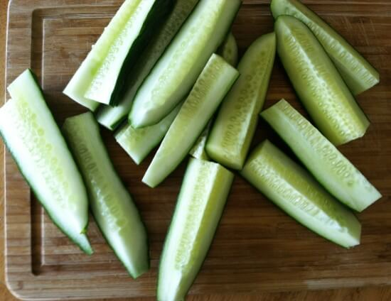 CUT YOUR CUCUMBERS INTO YOUR DESIRED SIZE You can leave the cucumbers whole, but they take longer to ferment. You can cut them in halves or in spears or even cut them in coins. The smaller you cut them, the shorter the fermentation process.
