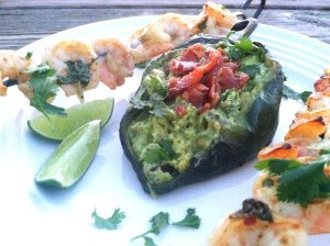 Bacon Guacamole Stuffed Poblanos with Cilantro Lime Shrimp Skewers