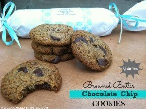 Browned Butter Chocolate Chip Cookies (Grain Free) &amp; A Cookie Dough Gift Roll Idea