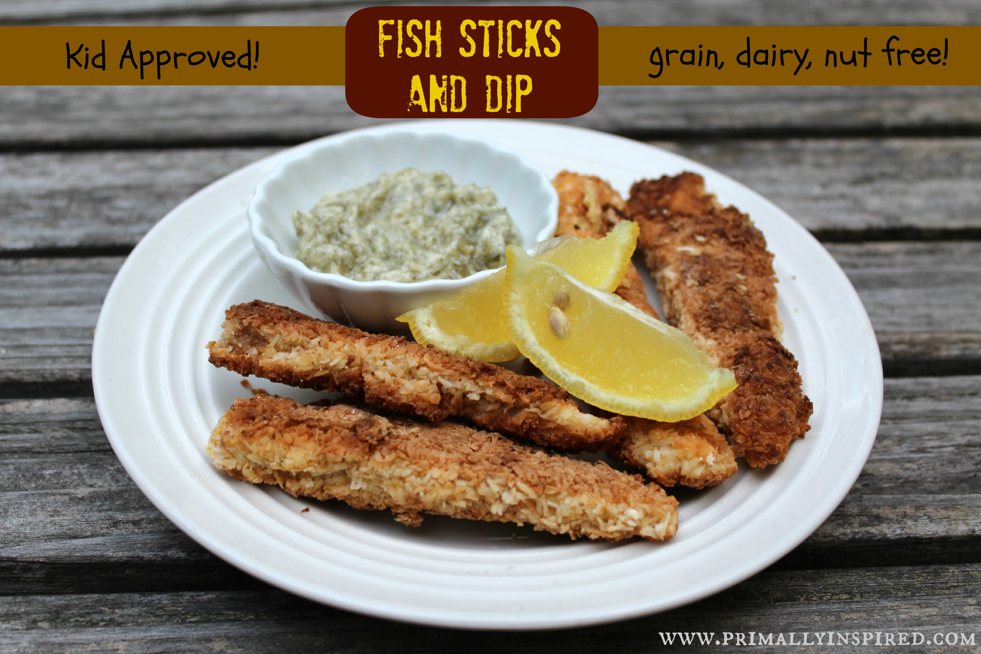 Fish Sticks with Lemon Dill Dipping Sauce (Grain, Dairy, Nut Free ...