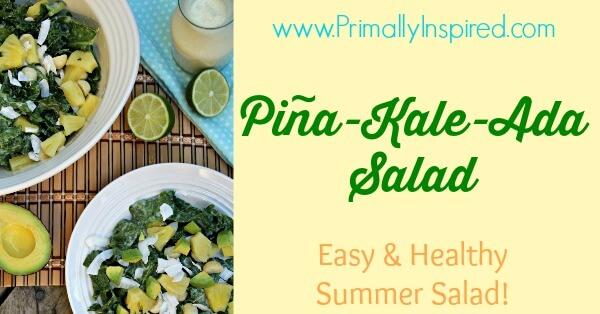 Pineapple Kale Salad (Vegan, Raw) via Primally Inspired