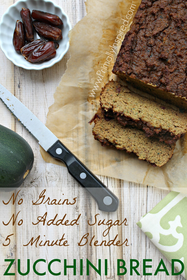 5 Minute Zucchini Blender Bread from Primally Inspired (Grain Free, No Added Sugar!)