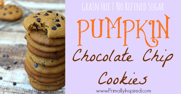 Pumpkin Chocolate Chip Cookies from Primally Inspired (Grain Free & Paleo)