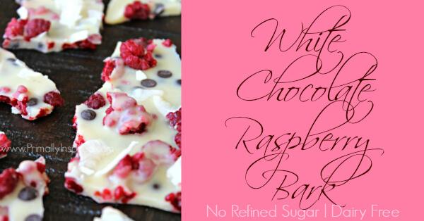 White Chocolate Raspberry Bark using fresh raspberries & no refined sugar! (Paleo, Dairy Free) By Primally Inspired