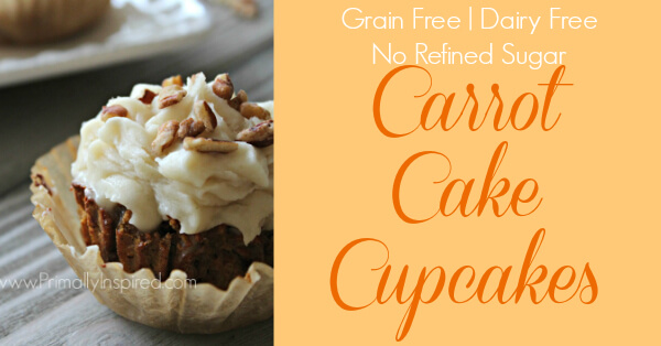 Paleo Carrot Cake Cupcakes using Coconut flour from Primally Inspired (Grain Free, Dairy Free, Nut Free, Refined Sugar Free)