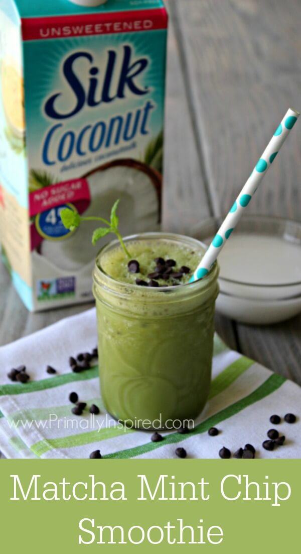 Dairy-Free Matcha Mint Chip Frappé Recipe  - No Refined Sugar | Primally Inspired
