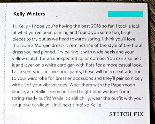 March Stitch Fix Stylist Note