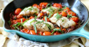 Weeknight Skillet Cod with Fresh Tomatoes and Basil Keto, Paleo, Whole30.
