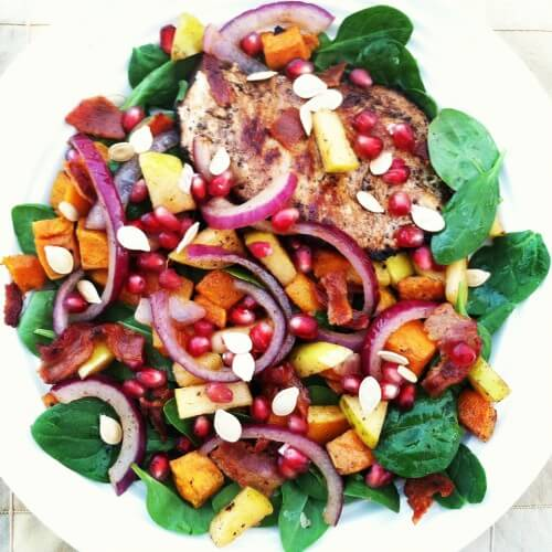 Autumn Grilled Chicken Spinach Salad with Warm Bacon Vinaigrette