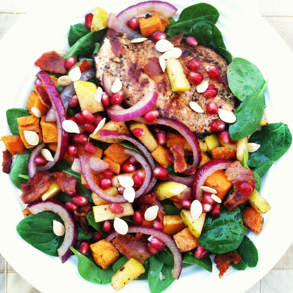 Autumn Grilled Chicken Spinach Salad With Warm Bacon