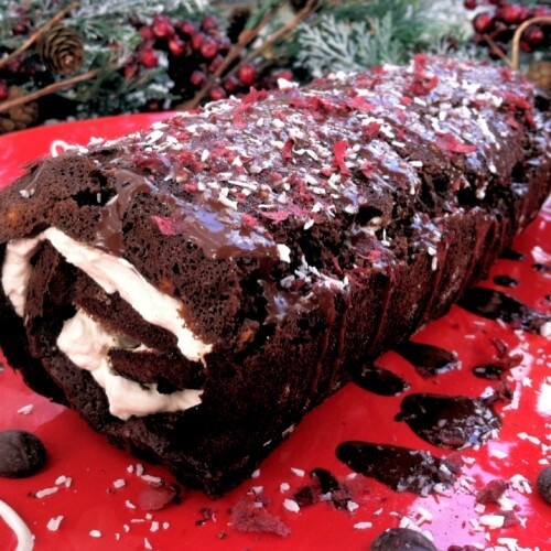 Paleo Peppermint Brownie Roll - PrimallyInspired.com