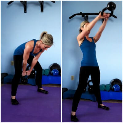 SWINGSGrab a kettlebell or dumbbell and stand with your feet wide. Squat down and swing the kettlebell down in between your legs. Immediately stand up and swing the kettlebell to shoulder height. Swing back down in between your legs.