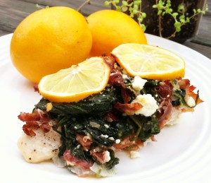 Meyer Lemon, Proscuitto and Spinach Smothered Chicken