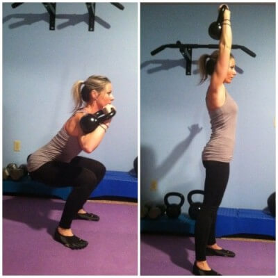SINGLE ARM SQUAT AND PRESSHolding the kettlebell handle with your right hand, get into a squat position. Make sure to keep your weight in your heels and keep your torso upright and stick your chest out. Your thighs should be parallel to the floor. Keep your right elbow close to your side and the kettlebell should be by your right shoulder. You can hold your left arm out for balance, if necessary. Push yourself to a standing postion and at the same time press the kettlebell towards the ceiling. That's on rep.