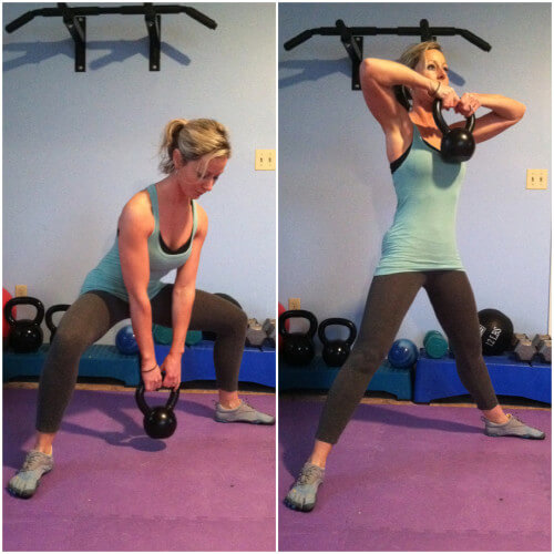 SUMO SQUAT TO UPRIGHT ROWGrab a kettlebell and position your feet with your toes pointed out to the sides and feet very wide apart. Squat down until your thighs are parallel to the floor. Immediately stand back up as you lift the kettlebell to your chest. Repeat for the prescribed reps.