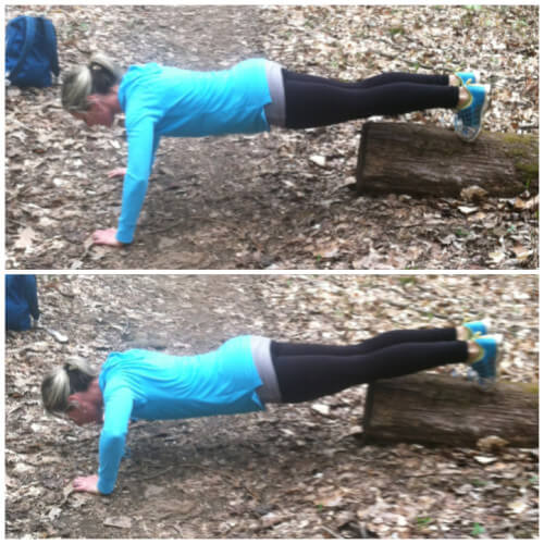 DECLINE PUSHUPS Place the balls of your feet on a rock or log. Get into pushup position. Your body should form a straight line from your feet to your head. Lower your body until your chest nearly touches the ground. Go up to starting position. Complete 20 pushups. Take as much rest as necessary to complete all the pushups.