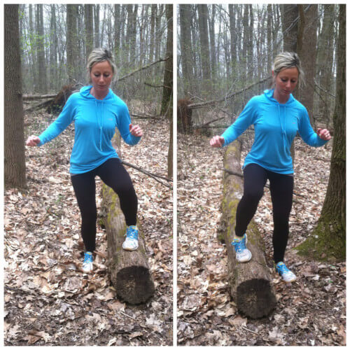 SIDE TO SIDE JUMPS Find a log and stand with your feet in between the log. Place your right foot on top of the log. Jump up and switch feet as quickly as you can. Repeat for 1 full minute.