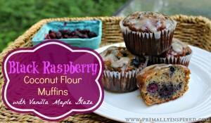 Easy Black Raspberry Coconut Flour Muffins With Vanilla Maple Glaze
