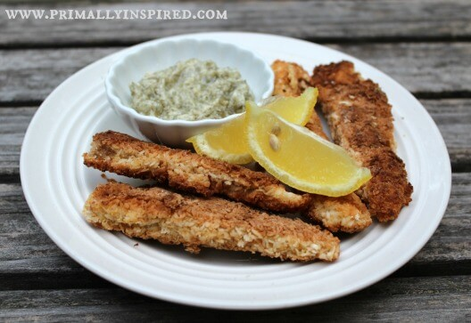 Fish Sticks with Lemon Dill Dipping Sauce (Grain, Dairy, Nut Free)