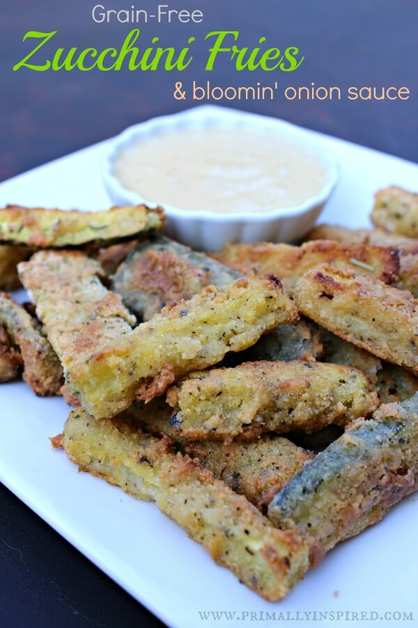 Baked Zucchini Fries with Bloomin' Onion Dipping Sauce (Grain Free)