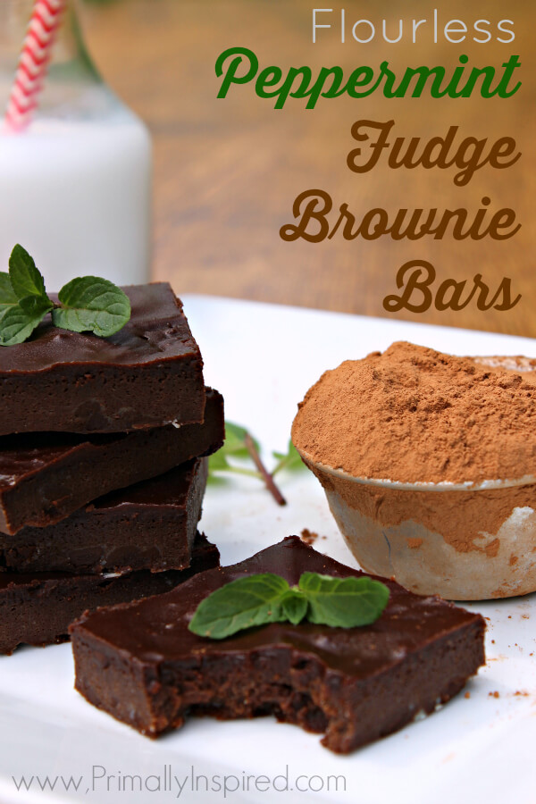 Flourless Peppermint Fudge Brownie Bars by Primally Inspired - Gluten Free, Paleo