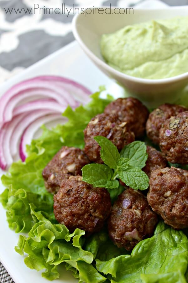 Greek Meatballs with Avocado Tzatziki Sauce from Primally Inspired