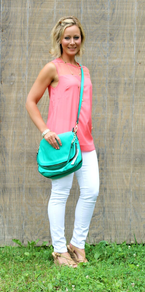 August Stitch Fix Review Coral Top White Jeans Teal Crossbody Bag