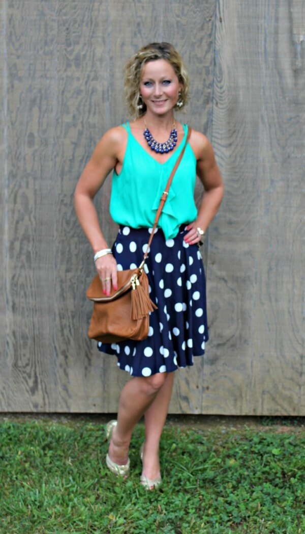 October Stitch Fix Review from Primally Inspired - Pixley Hanneli Polka Dot Swing Skirt with Skies are Blue Smith Ruffle Front Blouse and Emperia Kacie Half Flap Crossbody Bag