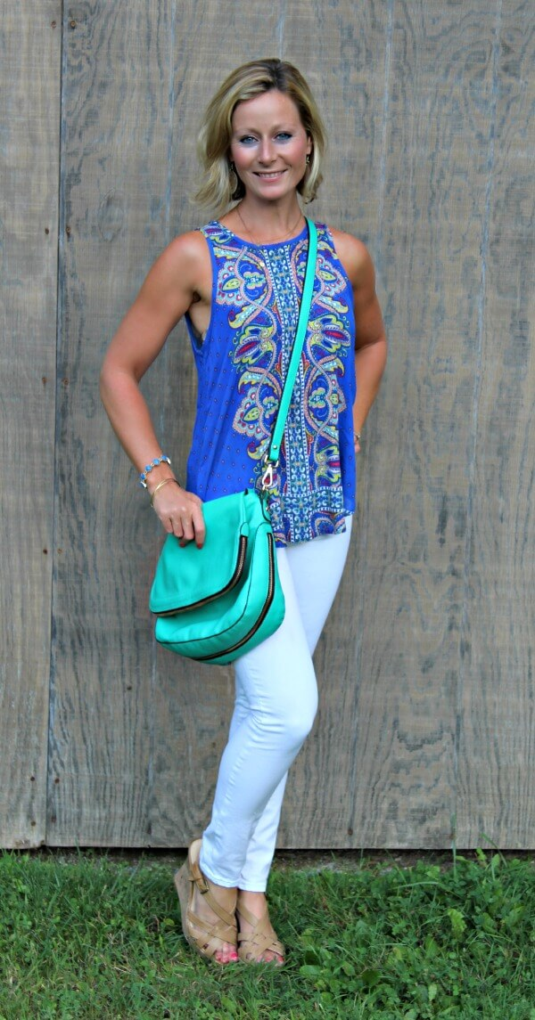 September Stitch Fix Review from Primally Inspired  Tucker Mix Print Split Back Tank with Urban Expressions Crossbody Bag