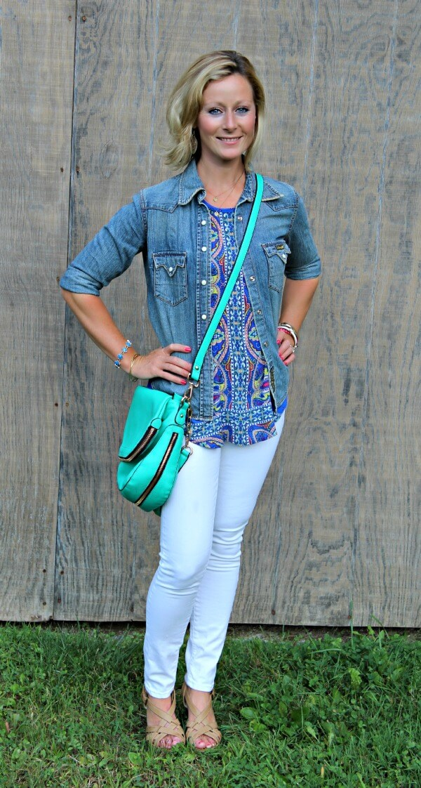 September Stitch Fix Review from Primally Inspired  Tucker Mixed Print Split Back Tank with White Mavi Skinny Denim and Urban Expressions Crossbody Bag