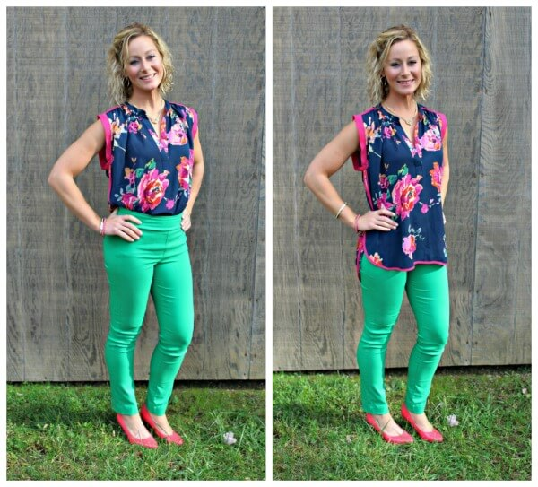 November Stitch Fix Review from Kelly at Primally Inspired  19 Cooper Lizza Floral Print Short Sleeve Blouse with Green Margaret M High Waisted Pants