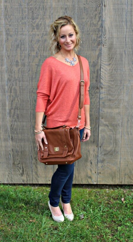 November Stitch Fix Review from Primally Inspired Laila Jayde Bowie Solid Dolman Sleeve Top in Coral with Mavi Freida Ankle Length Skinny Jeans and Emperia Clarita Messenger Bag